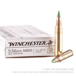 1000 Rounds of 5.56x45 Ammo by Winchester - 62gr FMJ Green Tip