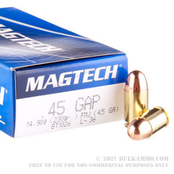 50 Rounds of .45 GAP Ammo by Magtech - 230gr FMJ