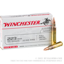 1000 Rounds of .223 Ammo by Winchester USA - 55gr FMJ