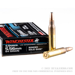 20 Rounds of 5.56x45 Ammo by Winchester Ranger - 64gr Bonded Solid Base