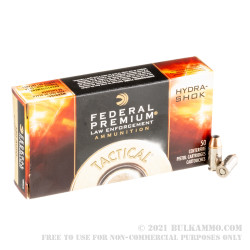 50 Rounds of .380 ACP Ammo by Federal Hydra-Shok - 90gr JHP