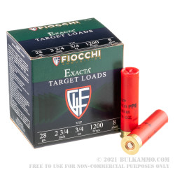 250 Rounds of 28ga Ammo by Fiocchi -  3/4 oz. #8 shot