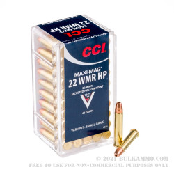 50 Rounds of .22 WMR Ammo by CCI - 40gr CPHP