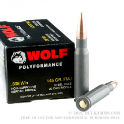 20 Rounds of .308 Win Ammo by Wolf WPA Polyformance - 145gr FMJ