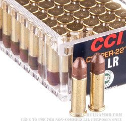 50 Rounds of .22 LR Ammo by CCI Copper-22 - 21gr Lead-Free HP