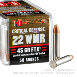 50 Rounds of .22 WMR Ammo by Hornady - 45 gr FTX