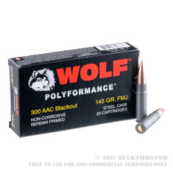 500 Rounds of .300 AAC Blackout Ammo by Wolf - 145gr FMJ