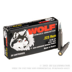20 Rounds of .223 Rem Ammo by Wolf Performance - 75gr HP