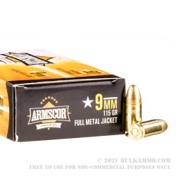 1000 Rounds of 9mm Ammo by Armscor - 115gr FMJ