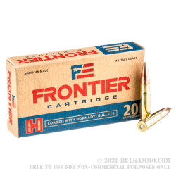 20 Rounds of .300 AAC Blackout Ammo by Hornady Frontier - 125gr FMJ