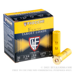 250 Rounds of 20ga Ammo by Fiocchi - 3/4 ounce #7-1/2 shot