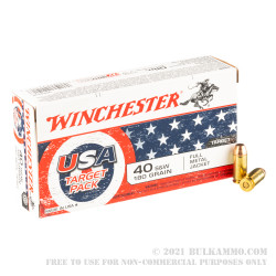 500 Rounds of 40 S&W Ammo by Winchester USA Target Pack - 180gr FMJ