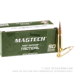 50 Rounds of 7.62x51mm M80 Ammo by Magtech - 147gr FMJ