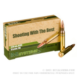 30 Rounds of 5.56x45 Ammo by Israeli Military Industries - 55gr FMJ M193