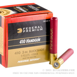 """200 Rounds of .410 3"""" Ammo by Federal Self Defense - #4 Buckshot"""
