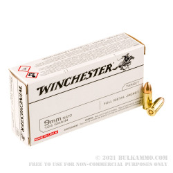 500 Rounds of 9mm NATO Ammo by Winchester - 124gr FMJ