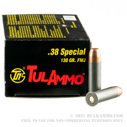 1000 Rounds of .38 Spl Ammo by Tula - 130gr FMJ