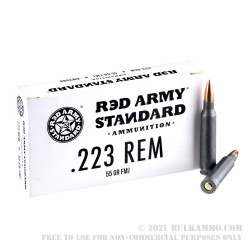 20 Rounds of .223 Ammo by Red Army Standard - 55gr FMJ