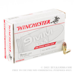 200 Rounds of 9mm Ammo by Winchester - 115gr FMJ