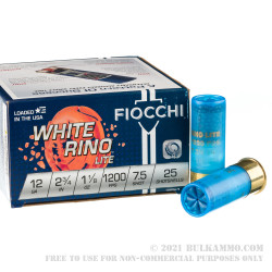 250 Rounds of 12ga Ammo by Fiocchi White Rino Lite - 1-1/8 ounce #7.5 shot