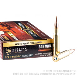 20 Rounds of .308 Win Ammo by Federal Gold Medal - 185gr Berger Juggernaut OTM