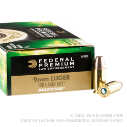 1000 Rounds of 9mm Ammo by Federal Ballisticlean - 100gr Frangible
