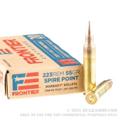 500 Rounds of .223 Ammo by Hornady Frontier - 55gr SP