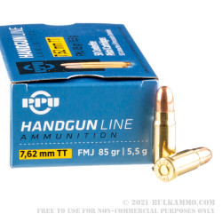 500 Rounds of 7.62 Tokarev Ammo by Prvi Partizan - 85gr FMJ