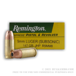 50 Rounds of 9mm Subsonic Ammo by Remington Express - 147gr JHP