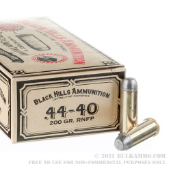 50 Rounds of .44-40 Win Ammo by Black Hills Authentic Cowboy Action - 200gr RNFP
