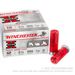"250 Rounds of 12ga 2-3/4"" Ammo by Winchester Super-X Game & Field -  #6 shot"