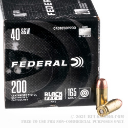 200 Rounds of .40 S&W Ammo by Federal Black Pack - 165gr FMJ