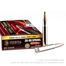 20 Rounds of 30-06 Springfield Ammo by Federal Vital-Shok - 180gr Trophy Copper Polymer Tipped