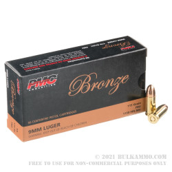 900 Rounds of 9mm Ammo by PMC - 3 Battle Packs - 115gr FMJ