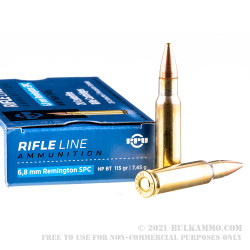 20 Rounds of 6.8 SPC Ammo by Prvi Partizan - 115gr HPBT