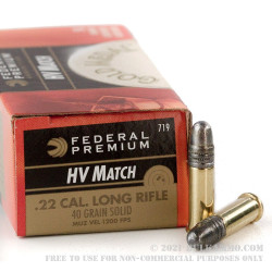 50 Rounds of .22 LR Ammo by Federal Gold Metal High Velocity Match - 40gr LRN
