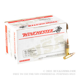 200 Rounds of 5.56x45 Ammo by Winchester USA - 55gr FMJ M193