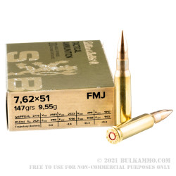 500 Rounds of 7.62x51mm Ammo by Sellier & Bellot - 147gr FMJ