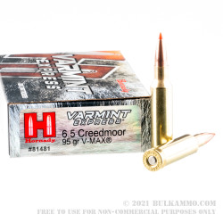 200 Rounds of 6.5mm Creedmoor Ammo by Hornady Varmint Express - 95gr V-MAX