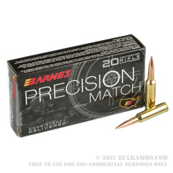 20 Rounds of 6.5 Creedmoor Ammo by Barnes Precision Match - 140gr OTM BT