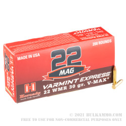200 Rounds of .22 WMR by Hornady - 30gr V-Max