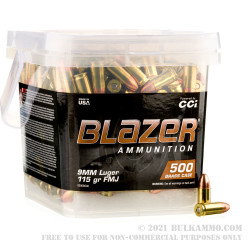 1000 Rounds of 9mm Ammo by Blazer Brass in Buckets - 115gr FMJ
