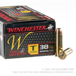 500 Rounds of .38 Special Ammo by Winchester W Train & Defend - 130gr FMJ
