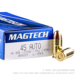 50 Rounds of .45 ACP Ammo by Magtech - 230gr FMJ