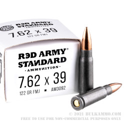 20 Rounds of 7.62x39mm Ammo by Red Army Standard - 122gr FMJ