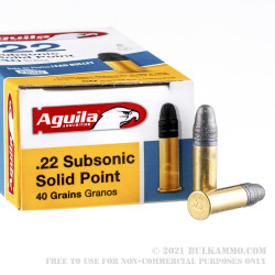 50 Rounds of .22 LR Ammo by Aguila Subsonic - 40gr LRN