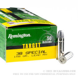 500  Rounds of .38 Spl Ammo by Remington - 158gr Lead Round Nose