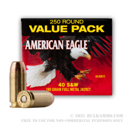 250 Rounds of .40 S&W Ammo by Federal - 180gr FMJ