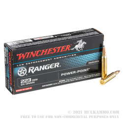 200 Rounds of .223 Ammo by Winchester Ranger - 64gr Power Point