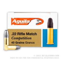 50 Rounds of .22 LR Ammo by Aguila - 40gr LRN